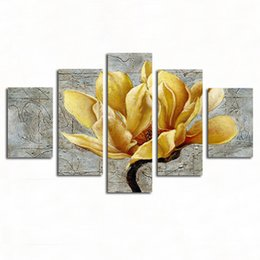 Chinese  5 Pieces modern fashion HD print paintings Luxurious gold flower oil painting on canvas home wall art decorations manufacturers