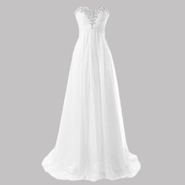 China 2017 New Arrival Chiffon White Ivory Wedding Dresses Sweetheart Sweep Train Beach Dress Lace-Up Bridal Gown suppliers