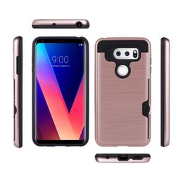 pc protectors NZ - for LG v30 Q8 Q6 stylus 3 stylo 3 G6 caus classic brush phone case tpu pc card slot armor cover full protector