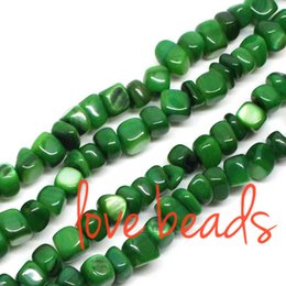 8mm Cube Beads Canada - 5mm-8mm Irregular Square Green Natural Shell Gravel Beads Stone Loose Beads Strand 80cm For wholesale(F00314) wholesale