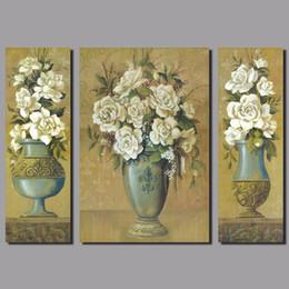 $enCountryForm.capitalKeyWord Canada - Flower arrangement 3pcs set white rose flowers decoration vase Canvas Painting wall Art living room kids printed decor unframed
