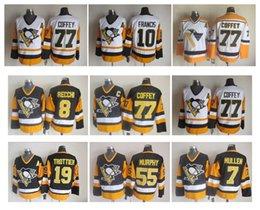 6214140a1 Retro Pittsburgh Penguins Hockey Jersey 77 Paul Coffey 7 Joe Mullen 8 Mark  Recchi 55 Larry Murphy 10 Ron Francis CCM Authentic Jerseys