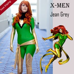 Costume Spandex Gris Pas Cher-Adult X-Men Jean Grey Phoenix Costume Vert Et Or Lycra Brillant Zentai Superhero Halloween Party Cosplay Costume ZenTai