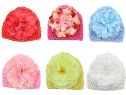 $enCountryForm.capitalKeyWord Canada - Newborn Baby Crochet Knitted Hats Beanies Toddler Flower Floral Waffle Beanie Handmade Caps For Children Girls