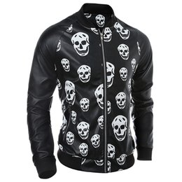 Chaquetas Impermeables De Cuero Baratos-Fall-Hot Fashion Men Skulls Leather Jacket Waterproof Streetwear Abrigos de cuero para hombre Skeleton Leather Suede European S1905