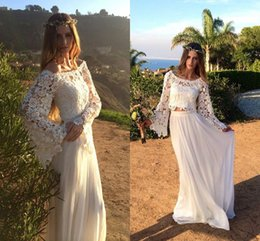 $enCountryForm.capitalKeyWord NZ - Vintage Full Lace Beach Wedding Dresses Two Pieces Party Long Sleeves Scoop Neck Chiffon A Line Elegant Custom Made Bridal Gowns Formal