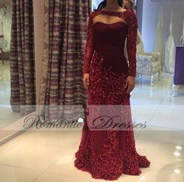 Veste En Perles Rouges Pas Cher-Dark Red Long Sleeves Jacket Robes de soirée Luxury Sequins Beaded Tulle Robes de bal Custom Made Arabic Style
