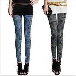 Barato Jeans Grátis Para Senhoras-Mock pocket Leggings Jeans Cheap Ripped Denim Spandex Graffiti Fitness Legging para as mulheres Calças Leggings Sexy Frete Grátis
