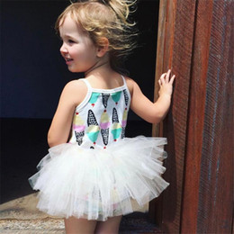 Discount cream color dresses - Girl INS Ice cream Lace princess dress kids princess party birthday lace sling sleeveless bowknot dresses baby clothes 0
