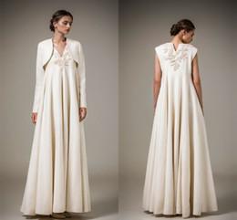 $enCountryForm.capitalKeyWord Canada - Vintage Empire V Neck Ashi Studio 2016 Evening Dresses With Long Sleeve Jacket Lace Applique Satin Ruffles Floor Length Formal Prom Dresses