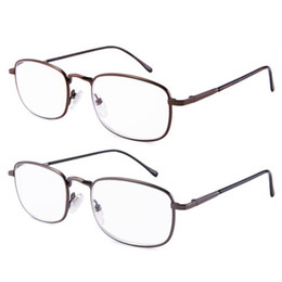 spring hinges Canada - High Magnification Power Reading Glasses Spring Hinge Fashion Unisex Gun and brown 2 Pairs pack