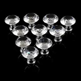 Großhandel 1 pack / 10 stücke 30mm Diamant Form Kristallglas Schublade Schrank Knöpfe und Griffe Küche Tür Kleiderschrank Hardware Zubehör