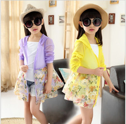 yellow children jackets NZ - 2018 Big Girls Cardigan Sunscreen Clothing Children Long Sleeve Zipper Floral Coat Fashion Girl Summer Lace Hooded Thin Jacket 120-160cm