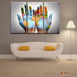 $enCountryForm.capitalKeyWord NZ - Free Shipping Painted Modern Abstract Oil Painting On Canvas The Hand Of The Map Wall Art For Living Room Decor Gift Picture Canvas Painting