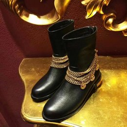 Fashion Brand Womens Ankle Cow Leather Boots Cowboy Winter Fashion Booties Ladies Shoes With Gold Chain Back Zipper Martin Boots Size:35-40