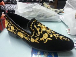 Bridegroom Wedding Shoes Canada - Gold Embroidered Men Shoes Genuine Leather Casual Flats Formal Wedding Bridegroom Shoes High Quality Slip On Loafers Shoes Plus Size 46