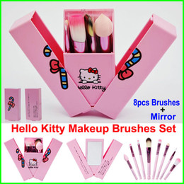 2017 plastic pink makeup mirrors Hello Kitty Makeup Brushes Set + Mirror Case eyeshadow blush Brush Kit Pink Make up Toiletry Beauty Appliances 8pcs set kids Cosmetic tools