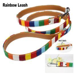 $enCountryForm.capitalKeyWord Canada - Pet Dog Leashes Size S 1.5*120cm M 2.0*120 cm L 2.5*120cm Soft Canvas Cloth Pu Leather Material Rainbow Dogs Lead