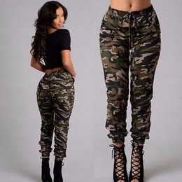 Pantalons Cargo Vert Femme Pas Cher-Army Green Military Camouflage Print Cargo Pants Femmes Ankle-Length Low Waist Elastic Regular Fashion Pants Pocket Drawstring Bottines Femmes