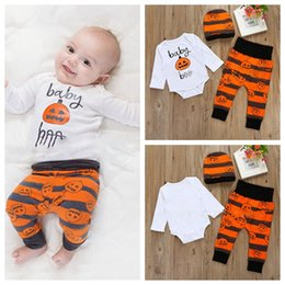 $enCountryForm.capitalKeyWord Canada - INS Toddler boys Halloween outfits Cartoon pumpkin printing hat+rompers+pants 3pcs set Cotton baby outfits kids Clothes infant jumpersuit