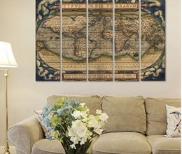 $enCountryForm.capitalKeyWord Australia - 5pcs set Big size Retro world maps Picture decoration Canvas Painting wall Art map poster Print living room home decor unframed