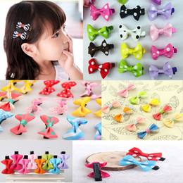 Mignon Ruban En Gros Pas Cher-Vente en gros- 10Pcs Toddler Cute Girl Hair Clip Ribbon Bow Baby Kids Satin Bowknot Headband Novelty Barrettes