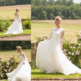 beach wedding dresses boho bohemian vintage a line lace with long sleeves 2016 modest elegant custom made chiffon sweep train bridal gown modest bohemian