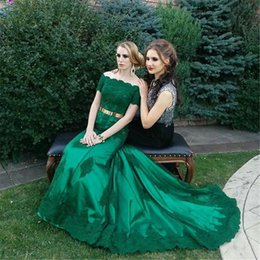 Short Kaftan Canada - Emerald Green Off Shoulder Lace Evening Dresses 2016 Short Sleeves Mermaid Plus Size Arabic Kaftan Abayas Formal Dresses Party Evening Gowns