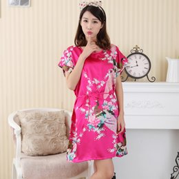Camisones De Color Rosa Sexy Baratos-Venta al por mayor-Hot Pink Ladies Summer Faux traje de seda Vestido New Style Sleepshirt Sexy Mini Nightgown Kimono baño Dress Floral Plus Size WC097