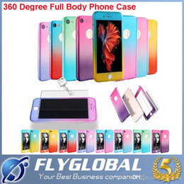 Full Phone Case Canada - For iphone 7 Plus Hybrid Tempered Glass 360 Degrees Full Body PC Phone Case Cover Gradient Phone Shell Skin for iphone 5s SE 6s 6s plus