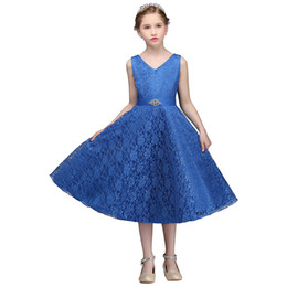 Chinese  2017 Hot Sale Girl's Pageant Dresses Princess A Line V Neck Lace Girl's Formal Dresses Flower Girl Gowns MC0403 manufacturers
