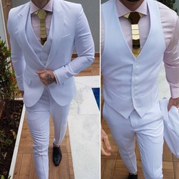 cool wedding tuxedos 2019 - Cool Wedding Mens Suits White Custom Made 3 Pieces Fashion Groom Wear Formal Tuxedo High Quality discount cool wedding t