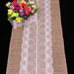 275cm30cm jute lace dentelle table runners wedding party banquet decoration linen fabrics wedding decoration casamento 10pcs lot dhl free - Discount Table Linens