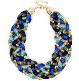 Chunky Chains online shopping - fashion New Design Fashion Weaved Handmade Necklace Chunky Popcorn Chain Women Chokers Wide Collar Statement Necklaces Big Jewelry