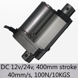 """Toptan satış 16 """"/ 400mm inme lineer aktüatör 40 mm / sn yüksek hızlı 100n 10kgs yük dc 12v ve 24v pencereler için"""