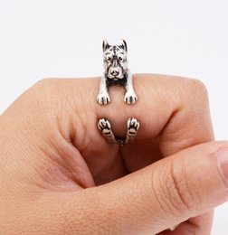 Chic Rings Australia - Wholesale- Drop Shipping Fashion Pit Bull Puppy Ring Anel Hippie Vintage 3D Pitbull Dog Ring Aneis Boho Chic Rings For Women Men Jewelry