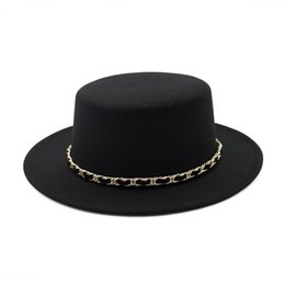 Blue Bowler hats online shopping - New European US Women Wool Boater Flat Top Hat Wide Brim Felt Fedora Hat with Chain Ladies Feltro Bowler Gambler Top Hat