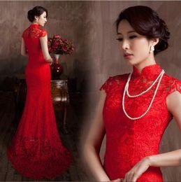 ElegantLace Material Red Color Luxury Chinese Traditional Wedding Dress Qipao Elegant 2016 Mermaid Dresses WE60