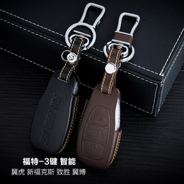Discount key cover for ford focus - Genuine Leather Car Key Case Cover 3 Buttons Smart For 2015 Ford Escape Maverick  New Focus EcoSport Car Key Holder Car