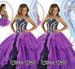 HigH glitz pageant dresses online shopping - Hot Sale High Rated Purple Princess Girl s Pageant Dresses Halter Neck Corset Back Beads Sequin Ball Gown Glitz Girl Dresses HY1141