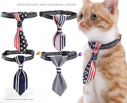 Nylon Dog Collar Wholesale UK - Pet Dog Bow ties Mix Colors Handmade Adjustable Pet Dog Ties Pet Bow Ties Cat bell nylon collar Neckties Dog Grooming Suppl 170826