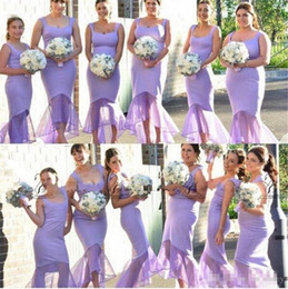 Robe De Mariée Haute Robe Pas Cher-Modest Lilac gaine Plus Size Robes de mariée à encolure High Low Custom Made BOHO Invité de mariage Parti Maid Of Honor Robes 2016 pas cher