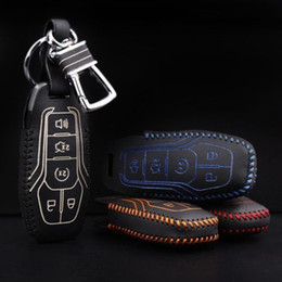 Discount ford leather car key case - Free shipping Brand New Genuine Leather Remote Control Car key chain and Key Case wallet Bag Cover For Ford mustang 2015