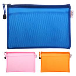 Folder Zip UK - Wholesale- A5 Matte Gridding Waterproof Zip Bag Document Pen Filing Products Pocket Folder Free shipping Office & School Supplies