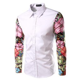 Barato Nice Man Camisa Magro-Nice New Vogue Man Shirt Padrão Design Long Sleeve Flores Imprimir Slim Fit Man Casual Shirt Moda Men Dress Shirts