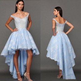 $enCountryForm.capitalKeyWord Canada - 2016 Baby Blue Lace High Low Prom Dresses Fadwa Baalbaki Sexy Off Shoulder Short Front Long Back Formal Gown Custom Made China EN8128