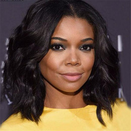 full chinese bang lace wig Canada - Natural Wave Short Bob Wigs 100% Brazilian Full Lace Wig With Bangs Glueless Human Hair Lace Front Wigs 12Inch 130Density