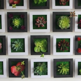 Black Creative 3D Metope Succulent Plants Imitation Wood Photo Frame Wall Decoration  Artificial Flowers Home Decor Living Room