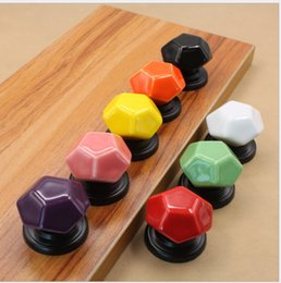 Ceramic Pulls For Cabinets Canada - Yellow Purple Orange Pink Red Black White Green ceramic diamond shape single door knob for kids cabinet pulls drawer handle Black base #171