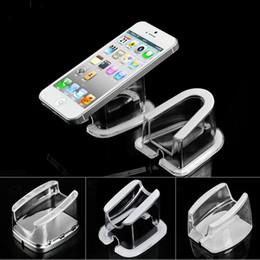 10 pcs atacado cristal Transparente transparente de segurança do telefone móvel titular suporte de suporte de acrílico para celular tablet PC anti-roubo